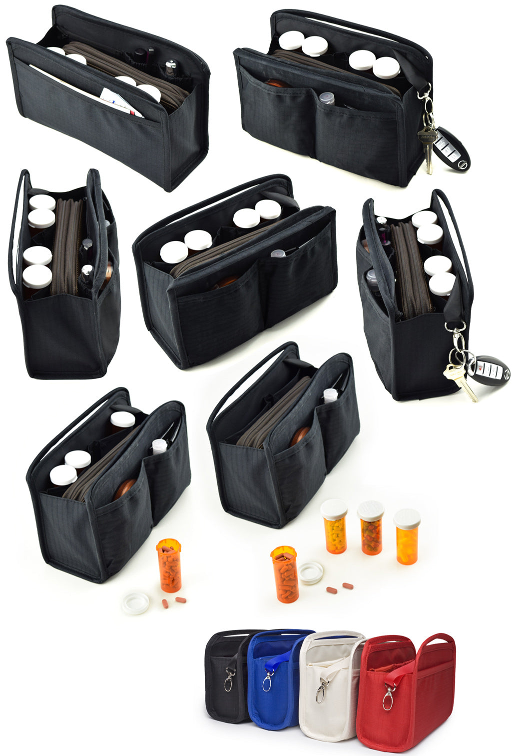 Purse Organizer with 4 Pill Vials