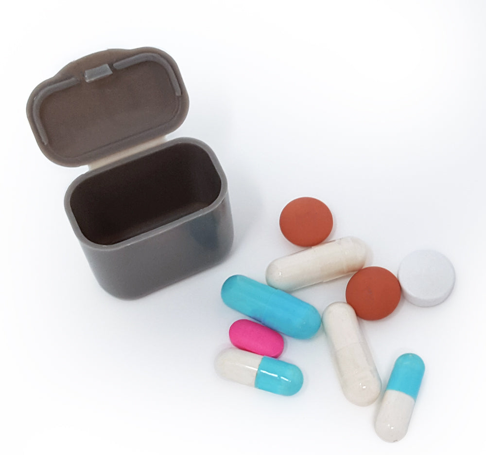 AM/PM 31-Day Monthly Pill Organizer Pods - Blue & Grey