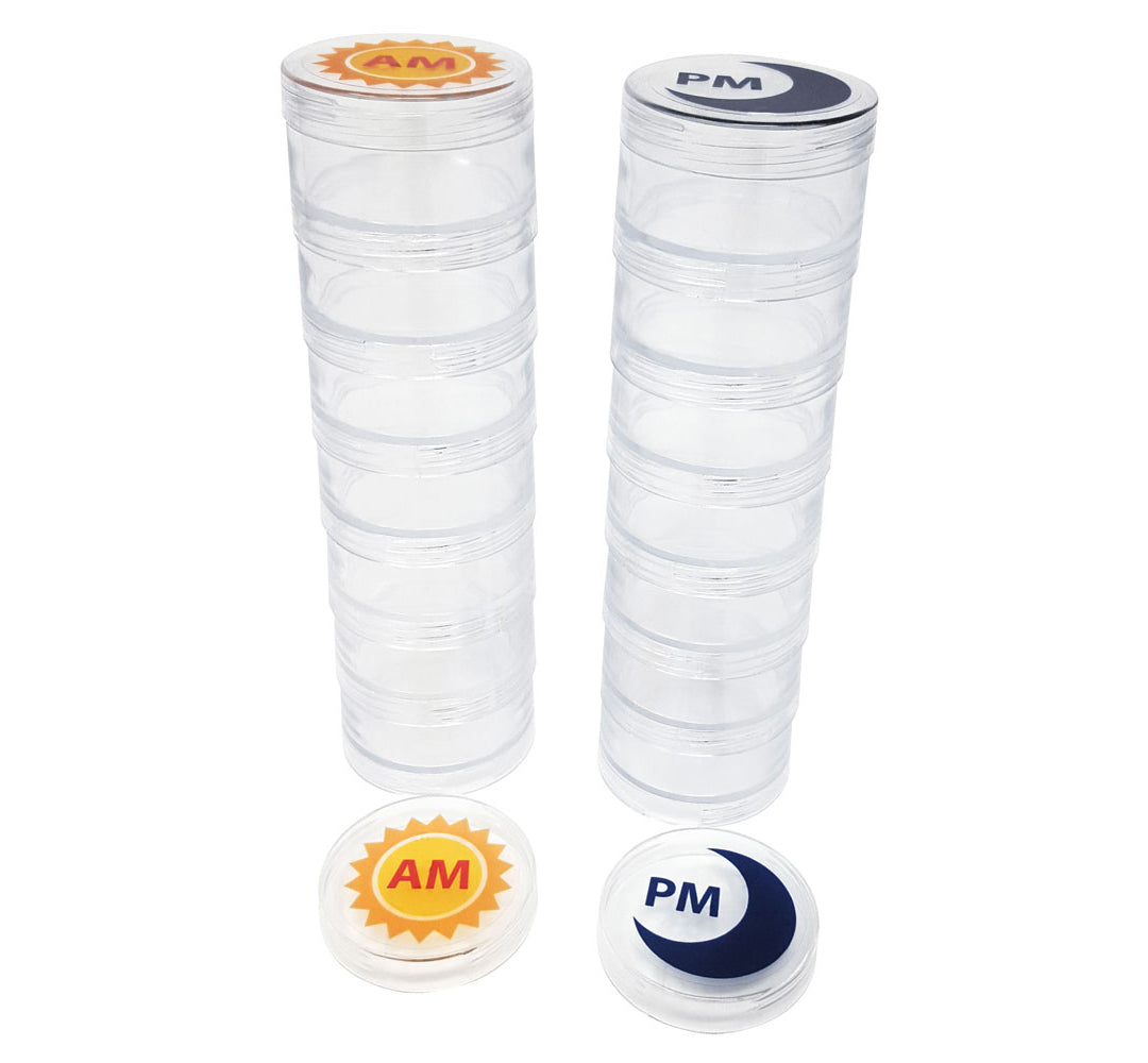 AM/PM Clear Stackable 7-Day Pill Organizers with Labels - Medium