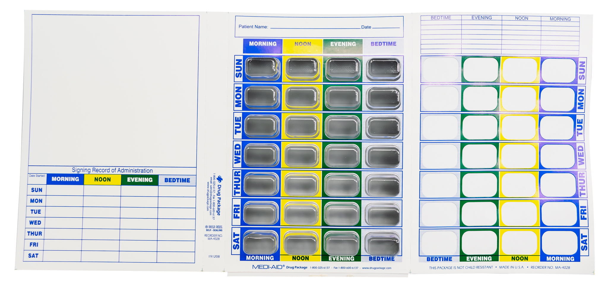 Weekly XL, 4 Time a Day, Cold Seal Medication Blister Cards - Tri-Fold Booklet 6 Pack