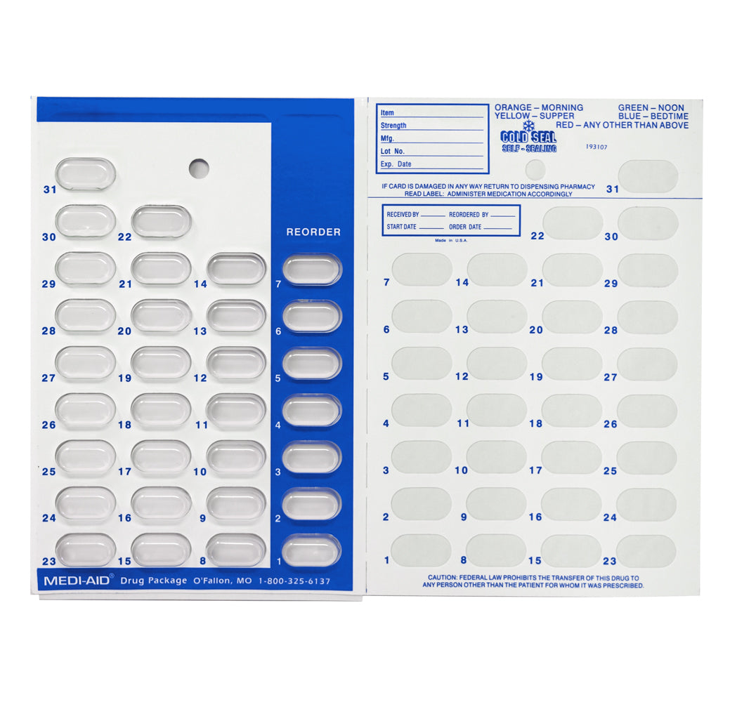 Color Coded Monthly Medication Blister Cards - Cold Seal