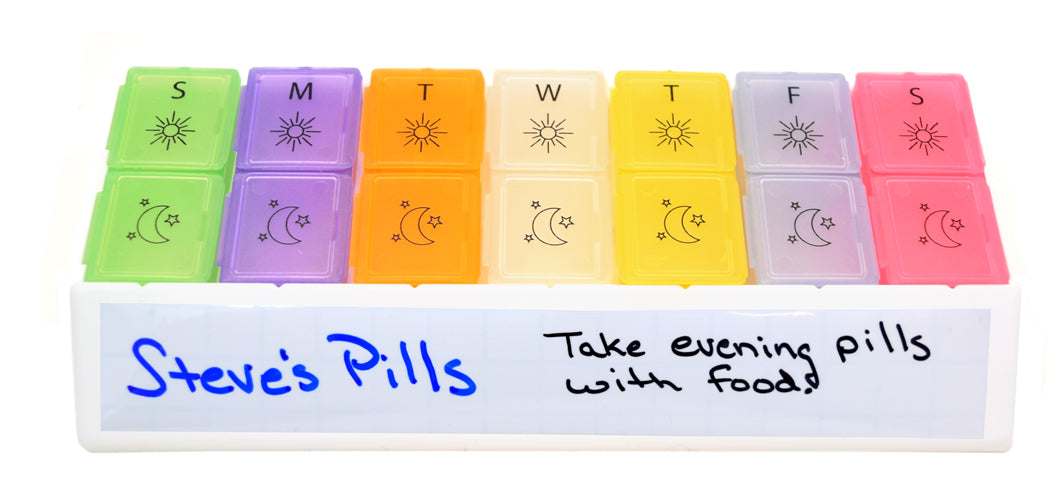 MedWrite AM/PM Weekly Pill Organizer - Medium