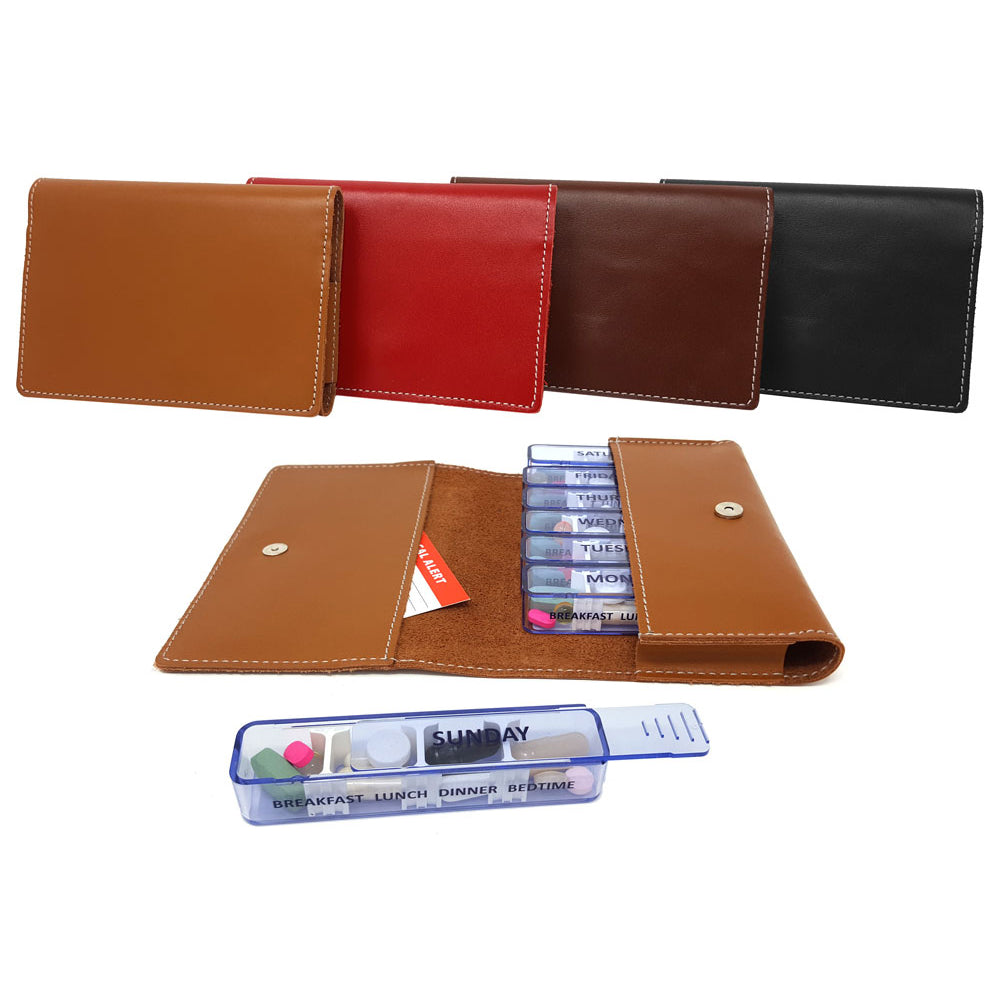 Kibodan Leather Pill Case Wallet - Weekly Pill Organizer