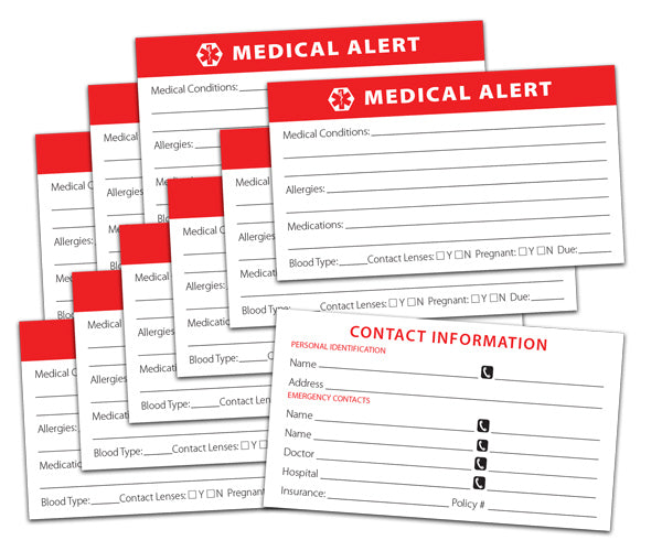 Medical Alert Cards - 10 Pack