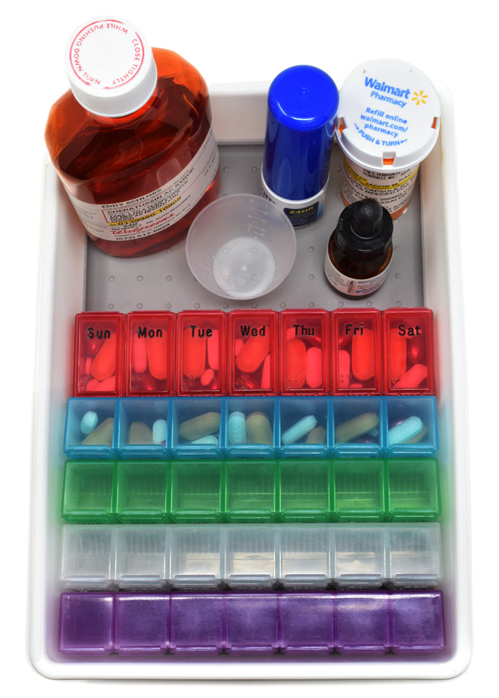 Complete Monthly Medication & Pill Organizer Tray - Large