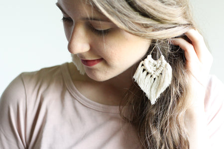 Macrame Earrings, Silver Earrings