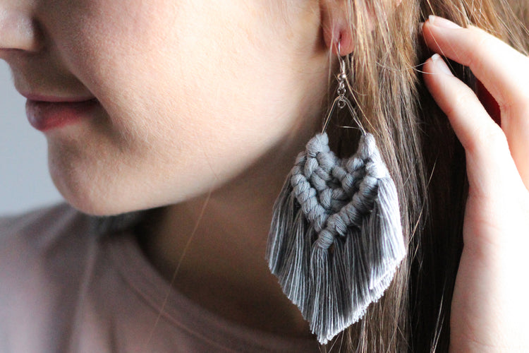 Gray Macrame Earrings