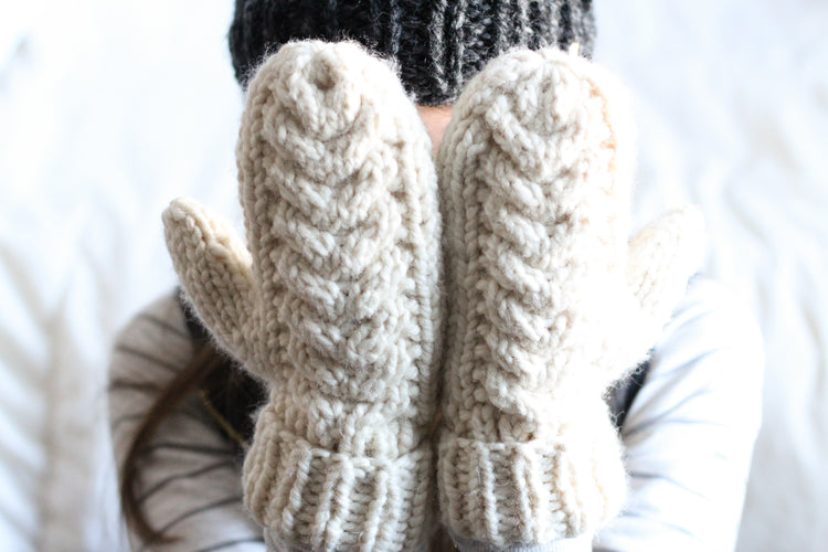 Chunky Cable Mittens, Warm Winter Mittens, Long Fold over Cuff