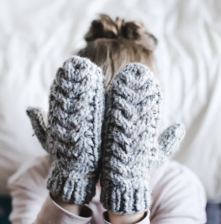 Cable Mittens, Chunky Winter Mittens, Short Cuff