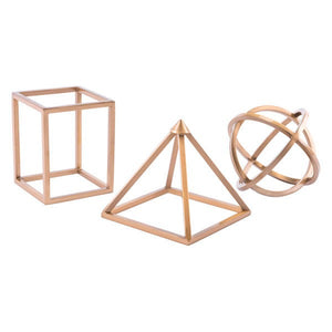 Zuo Geo Shapes Set Of 3 Antique Brass