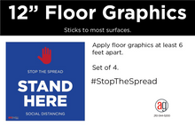 "Load image into Gallery viewer, Social Distancing ""Non-Slip"" Floor Decal (set of 4)"