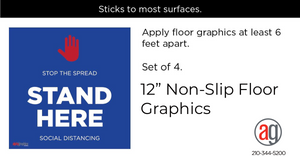 "Social Distancing ""Non-Slip"" Floor Decal (set of 4)"