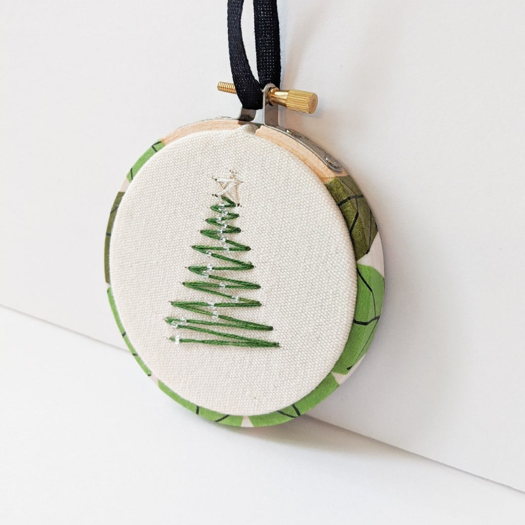 Hand embroidered tree ornament
