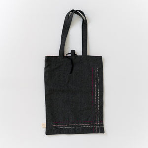 Organic Canvas Tote Bag - Pink Rows