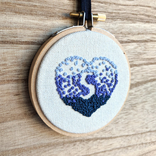 PRE-ORDER - Hand Embroidered Personalized Heart Version One