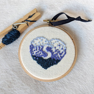 Hand Embroidered Personalized Heart Version One