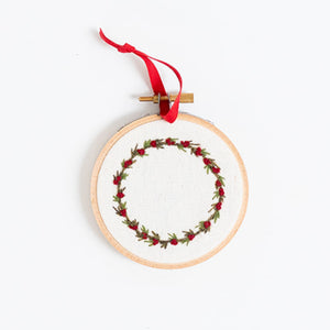 Hand Embroidered Holiday Ornament - Wreath