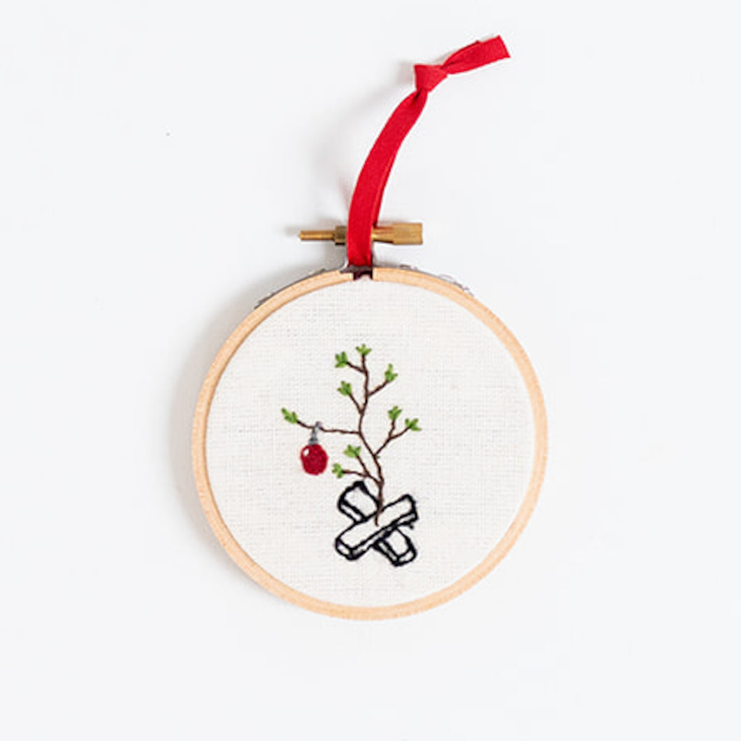 Hand Embroidered Holiday Ornament - Christmas Tree