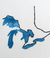 PRE-ORDER Hand Embroidered Map - The Great Lakes