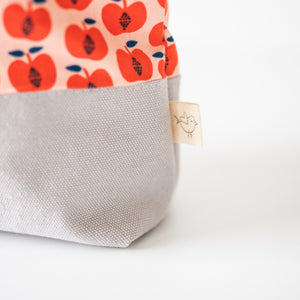 Large Zippered Bag - Red Apples