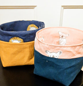 Reusable Fabric Bin - Small Koala or Lion