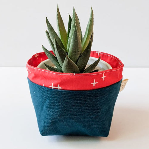 Blue/Red - Reusable Fabric Bin