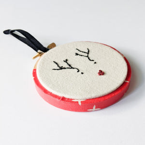 Hand embroidered rudolph ornament