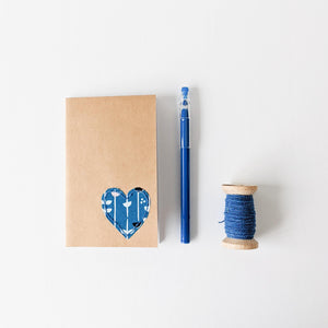 Hand Embroidered Heart Notebook - Blue