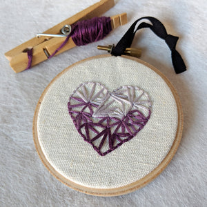 Hand Embroidered Personalized Heart Version Three