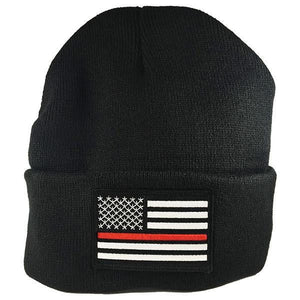Thin Red Line Beanie with Embroidered Flag - BackYourHero