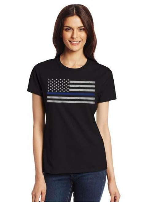 Women's Thin Blue Line American Flag T Shirt - BackYourHero
