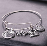 Gorgeous Navy Wife Charm Bracelet - BackYourHero