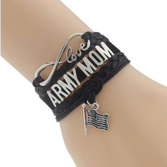 Leather Army Charm Bracelet - For Moms & Wives - BackYourHero