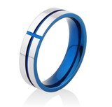 Stunning Cross Thin Blue Line Inspired Ring - Pure Tungsten Carbide! - BackYourHero