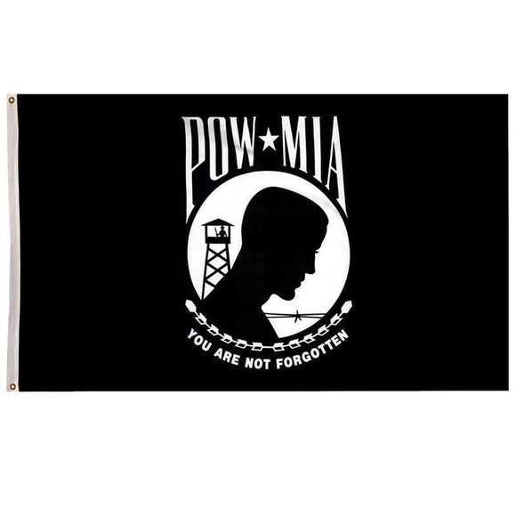 POW MIA Flag With Grommets 3 X 5 Feet - You Are Not Forgotten! - BackYourHero