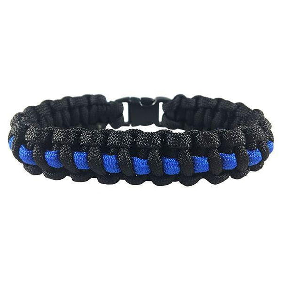 Thin Blue Line Paracord Survival Police Bracelet - BackYourHero