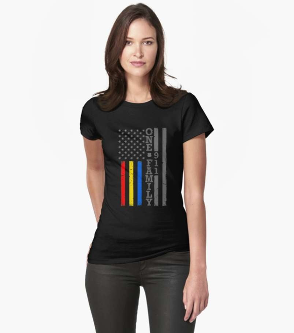 Women's 911 One Family Shirt - Dispatch, Police & Firefighter Unity - BackYourHero