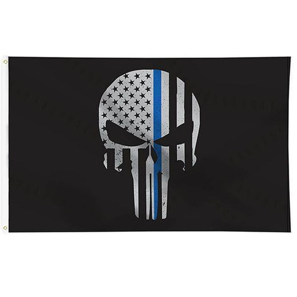 Thin Blue Line Punisher Flag 3x5 Feet with Grommets - BackYourHero