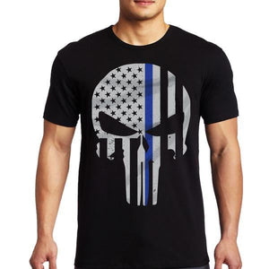 Thin Blue Line Punisher Men's T Shirt - BackYourHero