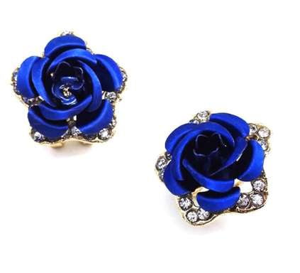 Police Appreciation Blue Rose Stud Earings - BackYourHero