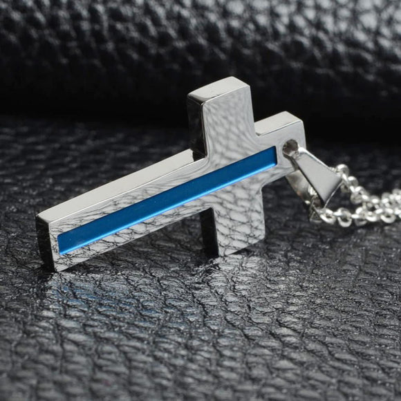 Thin Blue Line Silver Cross Pendant Necklace - BackYourHero
