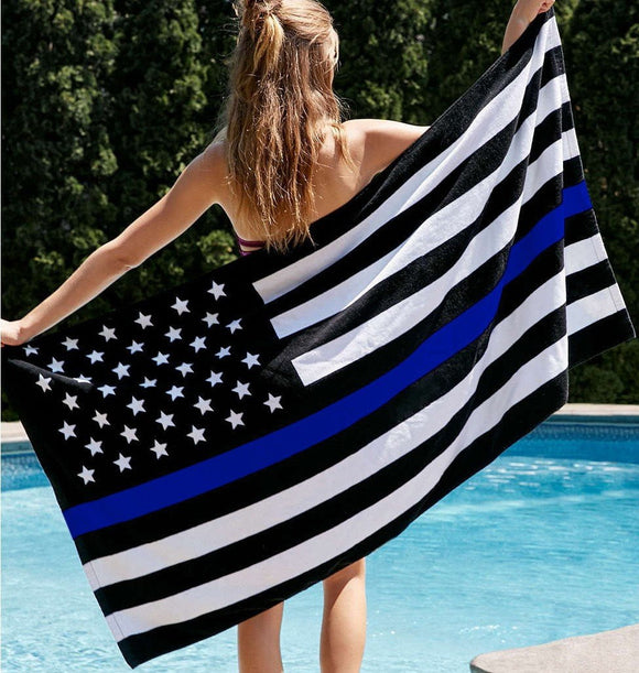 Thin Blue Line Towel - Great for the Beach or Home! - BackYourHero