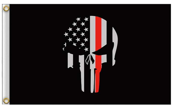 Thin Red Line Punisher Flag with Grommets 3 X 5 Feet - BackYourHero