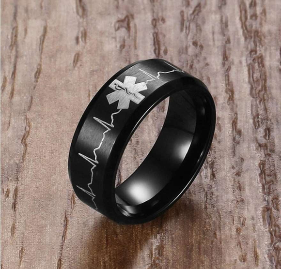 Beautiful EMS/EMT Paramedic Titanium Ring - BackYourHero