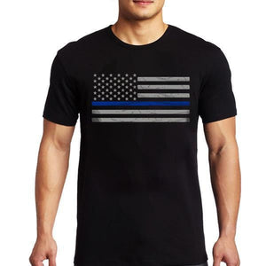 Thin Blue Line Men's American Flag T Shirt - BackYourHero