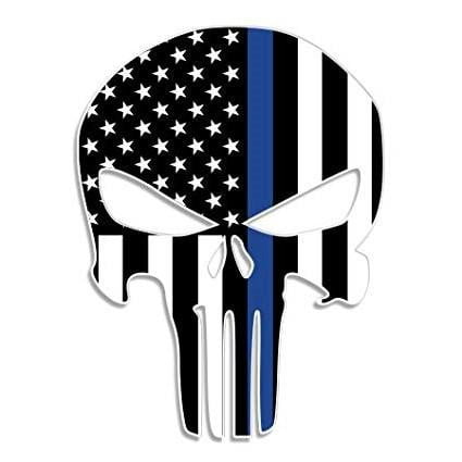 Punisher Thin Blue Line Sticker 2.5