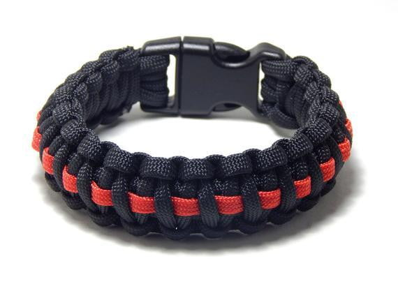 Paracord Thin Red Line Braided Bracelet - BackYourHero