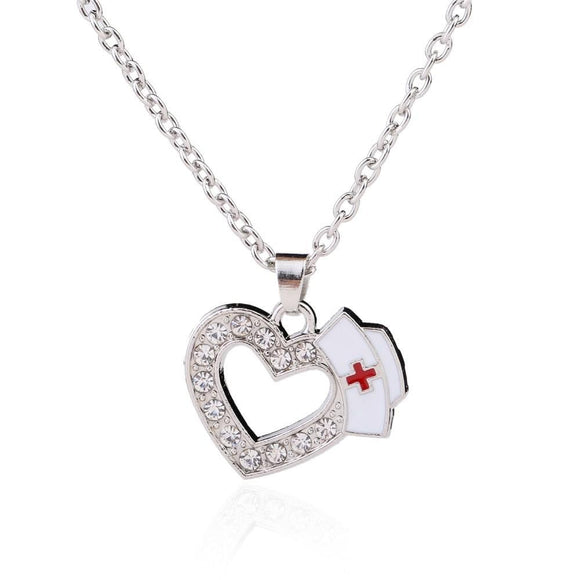 Stunning Nurse Necklace with Heart Pendant & Crystals - BackYourHero