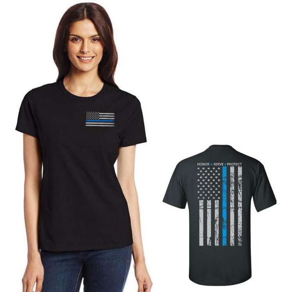 Women's Thin Blue Line Honor & Respect T Shirt - BackYourHero