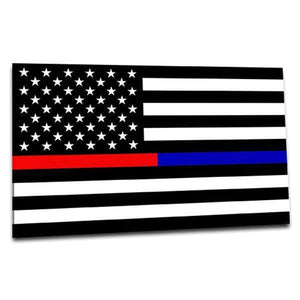 "Thin Red & Blue Line Sticker 2.5"" X 4.5"" Car or Laptop Vinyl Decal - BackYourHero"